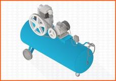 Flache Illustration des Vektors 3d des Kompressors Stockfotografie