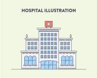 Flache Illustration des Vektors eines Krankenhausgebäudes Lizenzfreies Stockbild
