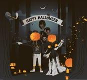 Flache Illustration des Vektors Glückliche Halloween-Karte Paare im Kostümhändchenhalten in Halloween-Kostümen gehen zu lizenzfreie stockfotos