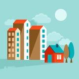Flache Illustration des Vektors - landcsape mit Häusern stock abbildung