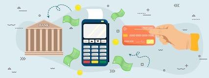 Flache Illustration des Zahlungsanschlusses und -Kreditkarte Hände mit Bankkarte nahe Positions-Anschluss Drahtlos, kontaktlos Po lizenzfreie abbildung