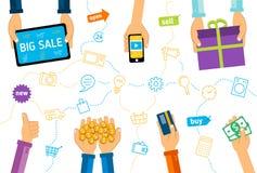 Flache Illustration Digital-Marketings Stockfotografie