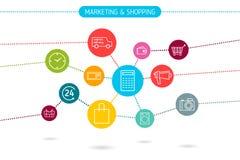 Flache Illustration Digital-Marketings Lizenzfreie Stockfotos