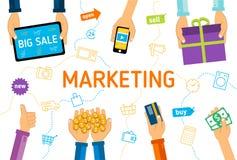 Flache Illustration Digital-Marketings Lizenzfreies Stockbild