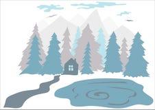 Flache Illustration eines kleinen Hauses im Wald nahe dem See Lizenzfreie Stockbilder
