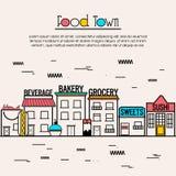 Flache Illustration für Lebensmittel-Stadtkonzept Lizenzfreies Stockfoto