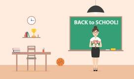 Flache Illustration für Schule oder College Zurück zu Schule-` Plakat Ein Lehrer mit Tafel der Blumen in der Schule Lizenzfreies Stockfoto