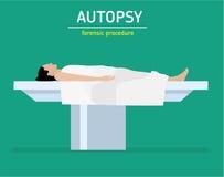 Flache Illustration Gerichtliches Verfahren Die Autopsie Die Frau ist ein Mordopfer vektor abbildung