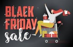 Flache Illustration schwarzen Freitag-Verkaufs auf Dunkelheit vektor abbildung