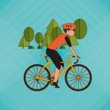Flache Illustration von Fahrrad lifesyle Design, edita Lizenzfreie Stockfotografie
