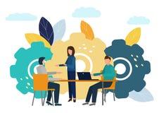Flache Illustrationen des Vektors, Brainstorming, Gesch?ftskonzept f?r Teamwork, Suche nach neuen L?sungen, kleine Leute sitzen a stock abbildung