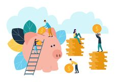 Flache Illustrationen des Vektors, großes Sparschwein auf weißem Hintergrund, Finanzdienstleistungen, Banker tun das Arbeits-, Ho stock abbildung