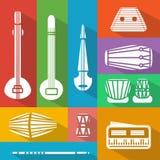 Flache indische Instrumente lizenzfreie abbildung