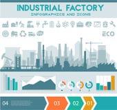 Flache industrielle Fabrik inforgraphics Schablone Stockbild