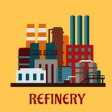 Flache industrielle Raffinerie Stockfotos