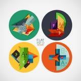 Flache infographic FahnenKonzepte des Entwurfes im Kreis Stockfotos