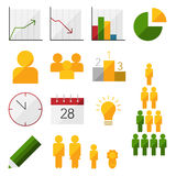Flache infographic Ikonen Lizenzfreies Stockbild