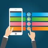 Flache Infographics-Schablone und Netz-Element-Geschäft, Computer, vermarktendes Konzept Lizenzfreie Stockfotos