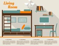 Flache Innenarchitektur des Wohnzimmers infographic Stockbilder
