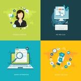 Flache Internet-Fahnen eingestellt On-line-Unterstützung, Zahlungsdienstleistungen, Meer Lizenzfreies Stockbild