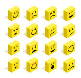 Flache isometrische Emoticons stellten Illustration ein Stockfoto