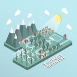 Flache isometrische Grünleben-Konzeptillustration der Ökologie 3d Lizenzfreie Stockfotografie