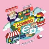 Flache isometrische Konzeptillustration des E-Commerce 3d Stockbilder