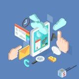 Flache isometrische kreative Mobiledienstleistungen der Tablette 3d lizenzfreie stockfotografie