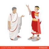 Flache isometrische Sammlung Kostüms 3d Roman Empire Caesar Senators stock abbildung