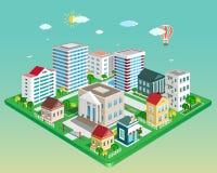 Flache isometrische Stadt 3d Satz ausführliche isometrische Vektorgebäude Stockfoto