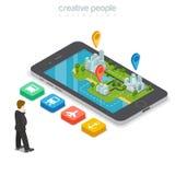 Flache isometrische Stadt t Mann Smartphone 3d GPS Stockfotografie