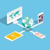 Flache isometrische Telefone 3d mit Benutzerschnittstellen-Entwicklungskonzept Lizenzfreie Stockbilder