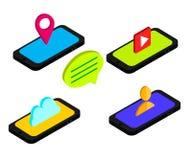 Flache isometrische Telefone 3d mit Benutzerschnittstellen-Entwicklungskonzept Bewegliches Apps-Marketing Design Auch im corel ab Stockbilder