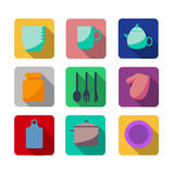 Flache Küchen- und kochenikonen Lizenzfreie Stockfotos