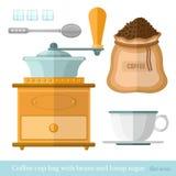 Flache Kaffeetasse-Taschenlöffel-Klumpenzuckerkaffeebohne-Kaffeemühleikone Stockfotografie