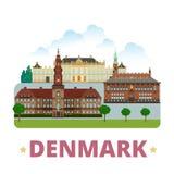 Flache Karikaturart der Dänemark-Landdesignschablone Lizenzfreies Stockfoto