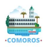 Flache Karikaturart der Komoren-Landdesignschablone lizenzfreie abbildung