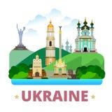 Flache Karikaturart der Ukraine-Landdesignschablone Stockfotografie