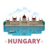 Flache Karikaturart der Ungarn-Landdesignschablone Stockfotos