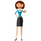 Flache Karikaturillustration der Geschäftsfraumotivation EPS10 Getrennt auf einem weißen Hintergrund Stockfotos