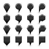 Flache Karte steckt schwarze Standortikone des Zeichens mit Schatten fest lizenzfreie abbildung