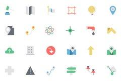 Flache Karte und Navigation farbige Ikonen 3 Stockbilder