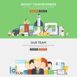 Flache Konzept- des Entwurfesfahne - Bosst Ihr Geschäft und unser Team Stockbilder