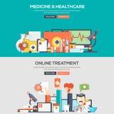 Flache Konzept- des Entwurfesfahne - Medizin und Gesundheitswesen Lizenzfreie Stockfotos