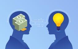 Flache Konzept- des Entwurfesgeschäftsvereinbarung Austausch zwischen Geld und Identifikation lizenzfreie abbildung
