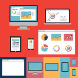 Flache Konzept- des Entwurfesikonen für Netz und bewegliche Dienstleistungen und apps Stockbild