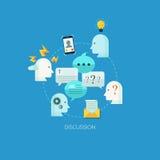Flache Konzept- des Entwurfesillustrationsschablone für Diskussion lizenzfreie abbildung