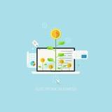 Flache Konzept- des Entwurfesillustrationsschablone für elektronisches Geschäft lizenzfreie abbildung