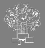 Flache Konzept- des Entwurfesnetzkommunikation Stockbild
