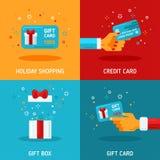 Flache Konzepte des Entwurfes über Feriengeschenk-Karten lizenzfreie abbildung